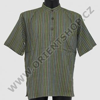 Košile kurta Roman krátký rukáv M khaki